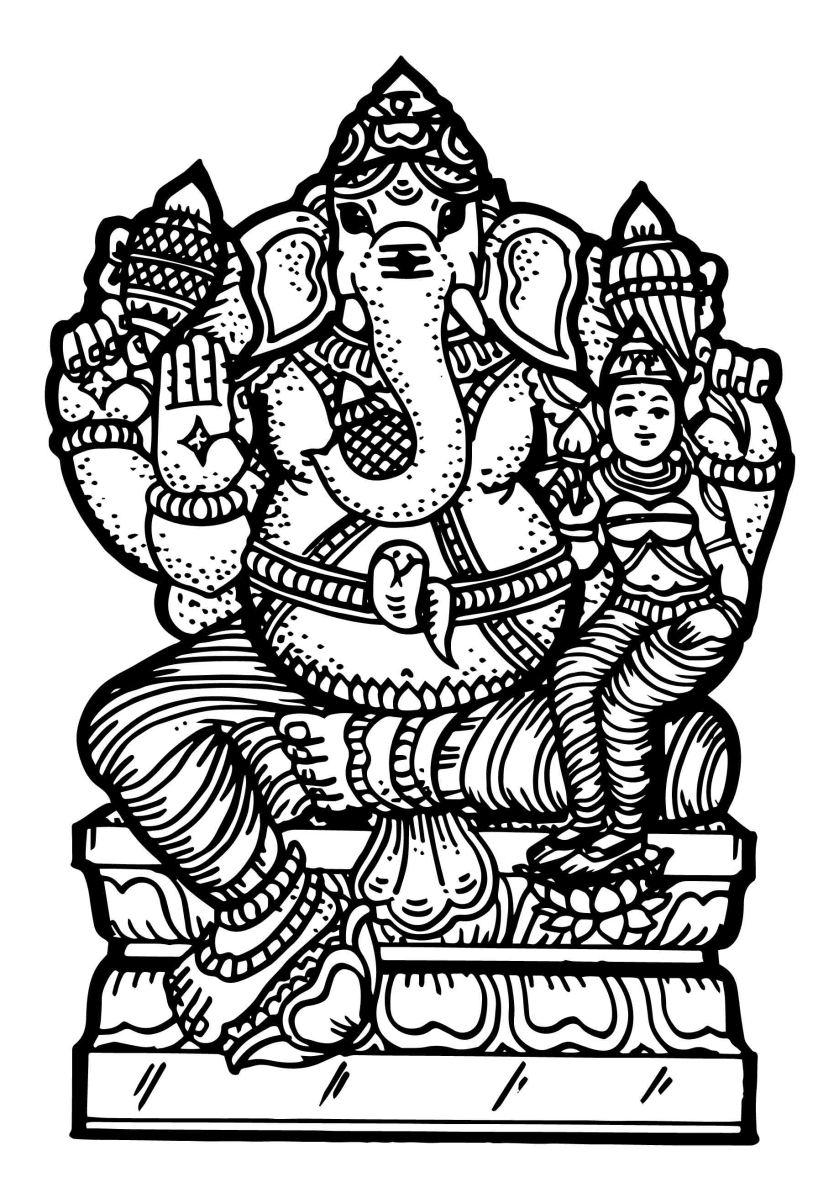 Line drawing balajarts 4 lakshmi vinayagar